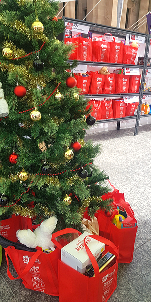 Red Bags under Christmas Tree